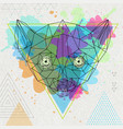 hipster polygonal animal lemur on artistic vector image vector image