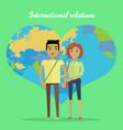 international relations flat design concept vector image