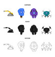 isolated object of robot and factory sign set of vector image vector image