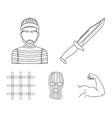 knife prisoner mask on face steel grille vector image vector image