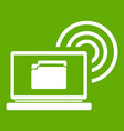 laptop and and wireless icon green vector image vector image