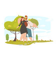 loving couple walking in city park in sunny summer vector image