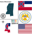 Map of Mississippi with seal vector image vector image