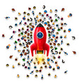 people around a rocket on a white background vector image