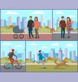people in coats walking in city park in autumn vector image vector image