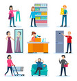 people in shop set vector image vector image