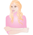 Portrait of beautiful blonde woman in pink vector image vector image