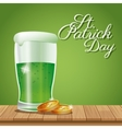 poster st patrick day glass beer coins on wooden vector image vector image