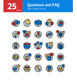 questions and faq filled outline icon set vector image