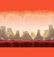 seamless volcano planet landscape for ui game vector image vector image