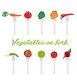 set of vegetables on fork vector image vector image