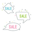 simple sale speech bubbles with geometric signs vector image vector image