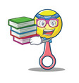 student with book rattle toy mascot cartoon vector image