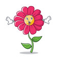 surprised pink flower character cartoon vector image