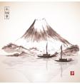 Two fishing boats and Fujiyama mountain vector image vector image