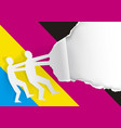 two men ripped paper background with cmyk colors vector image vector image