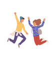 two smiling teenage people jumping raising hands vector image vector image