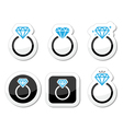 Wedding Diamond engagement ring icon vector image vector image