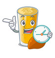 with clock lassi mango in a cartoon bottle vector image vector image