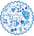 Blue flowers floral russian ornament gzhel frame vector image