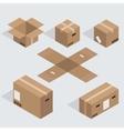 modern isometric cardboard icons set vector image