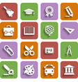Flat School Icons Set With Shadow vector image