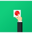 Hand press red button Start project concept Flat vector image