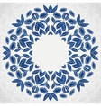 Traditional blue round sunflowers pattern frame vector image