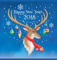 2018 new year greeting card with deer vector image