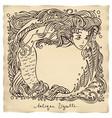 antique mermaid vignette vector image vector image