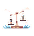 arab businessman and businesswoman on scales vector image
