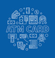 atm card round linear on blue vector image vector image