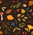 autumn dried leaves flat seamless pattern vector image