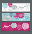 banner set with flower design vector image