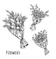 black and white line drawing flower bouquets