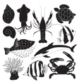 Black Sea Creature Icons vector image vector image
