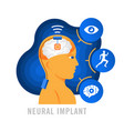 brain implants neural implants flat vector image vector image
