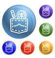 bribery pocket money icons set vector image vector image