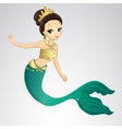 Brunette Mermaid With Gold Crown vector image vector image