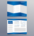 Business trifold brochure template - modern blue vector image vector image