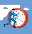 businessman pushing big clock vector image