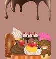 candies background with melting chocolate vector image