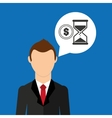 cartoon business man sand clock money design vector image