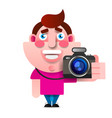 cartoon style character of photographer isolated vector image vector image