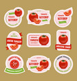 cartoon tomato badges or labels set vector image vector image