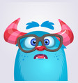 cartoon yeti monster wearing glasses vector image vector image