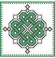 Celtic knot in cross stitch in green vector image vector image