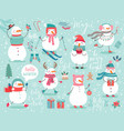 christmas set with cute snowmen vector image
