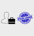 contour user case icon and grunge stolen vector image vector image