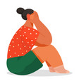 crying woman girl sitting on floor cover face vector image